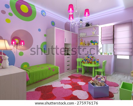 3d rendering nursery for girls in pink colors - stock photo
