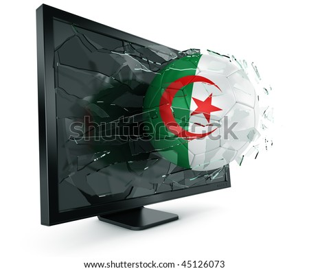 3d rendering of a Algerian soccerball breaking through monitor - stock photo