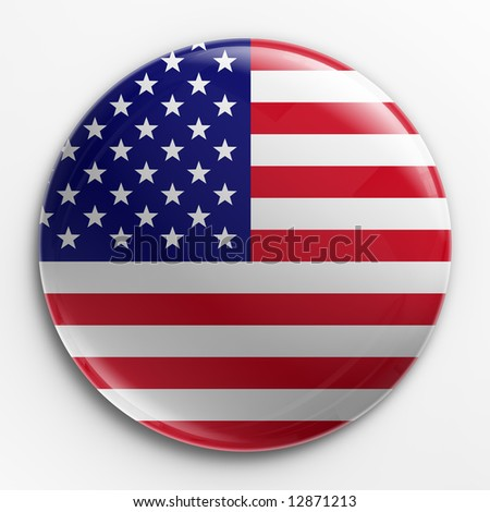 3d rendering of a badge with the American flag - stock photo