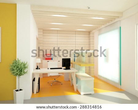 3d rendering of a bank office interior design - stock photo