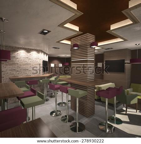 3d rendering of a bar interior design - stock photo