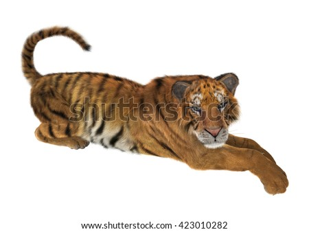 3D rendering of a big cat tiger laying isolated on white background