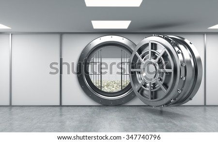 3D rendering of a big open round metal safe in a bank depository with lock-boxes and money on the floor behind bars, a concept of saving money - stock photo