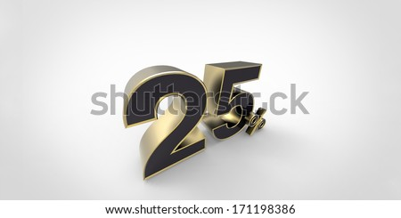3D rendering of a black and golden percent