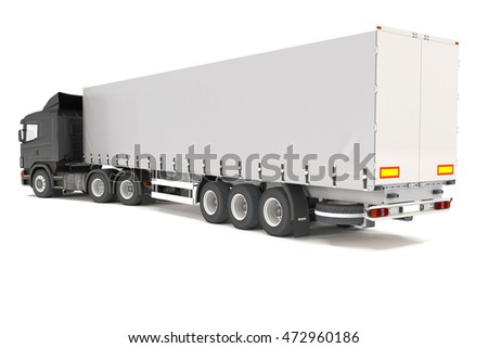 3d rendering of a black cargo truck over white background.