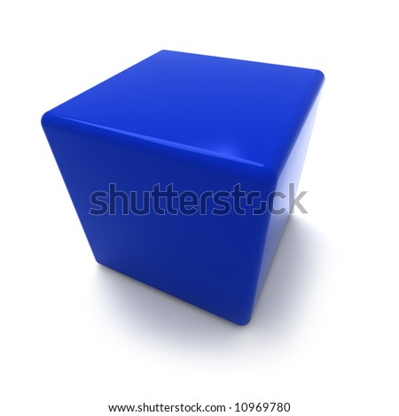 3D rendering of a blue cube on a white background
