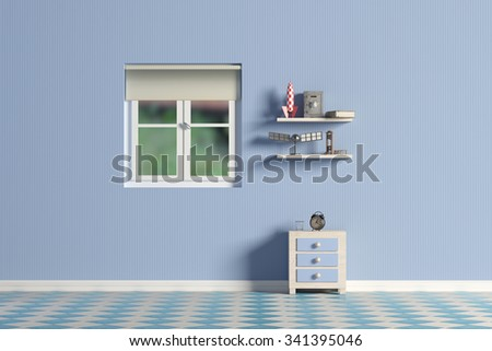 3D rendering of a blue kids room