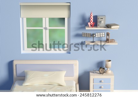 3d rendering of a blue room and an a window