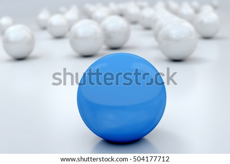 3D rendering of a blue sphere with lots of silver ones at the background