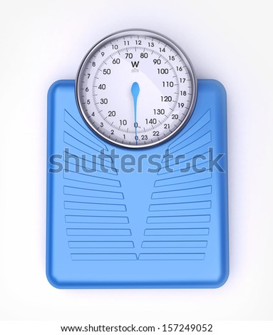3D rendering of a blue weight scale