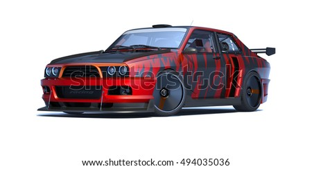 3D rendering of a brand-less generic concept car (old school) in studio environment.