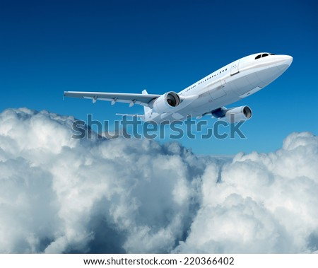 3D rendering of a brandless airplane, flying above the clouds - stock photo
