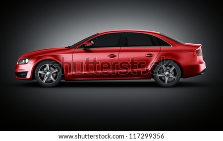 3d rendering of a brandless generic red car of my own design in studio environemnt - stock photo