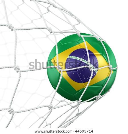 3d rendering of a Brazilian soccer ball in a net - stock photo