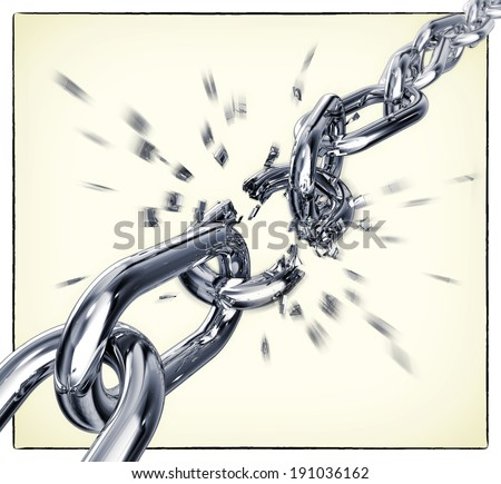 3D rendering of a breaking chain - stock photo
