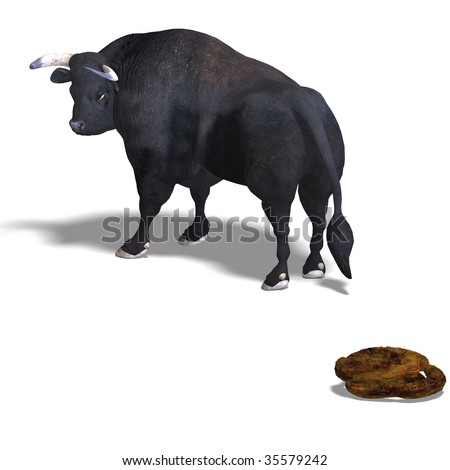 3D rendering of a Bull and his pile with clipping path and shadow over white - stock photo