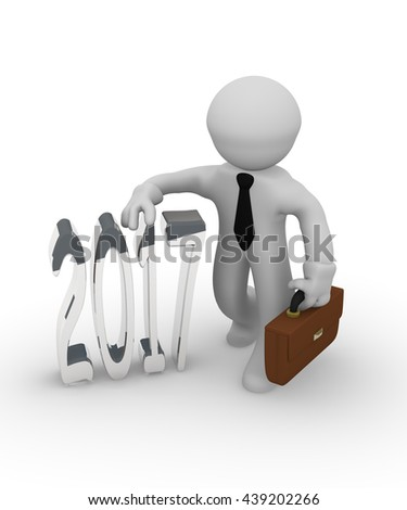 3d rendering of a businessman with a silver 2017 on a white background