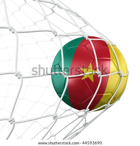 3d rendering of a Cameroonian soccer ball in a net