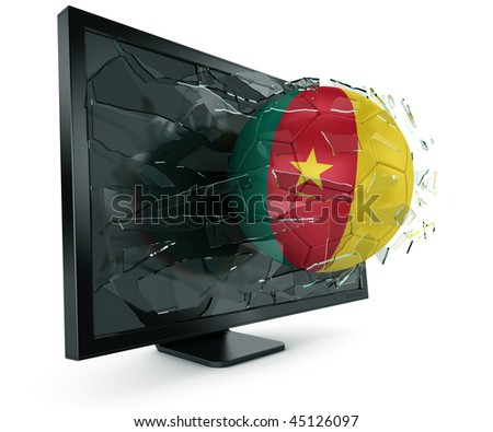 3d rendering of a Cameroonian soccerball breaking through monitor - stock photo
