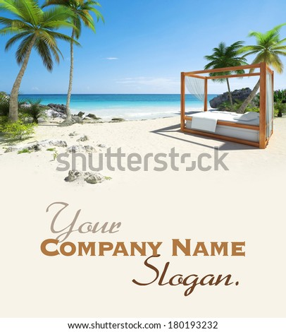 3D rendering of a canopy  bed in a Caribbean beach - stock photo