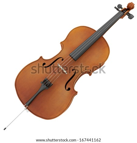 3d rendering of a cello - stock photo