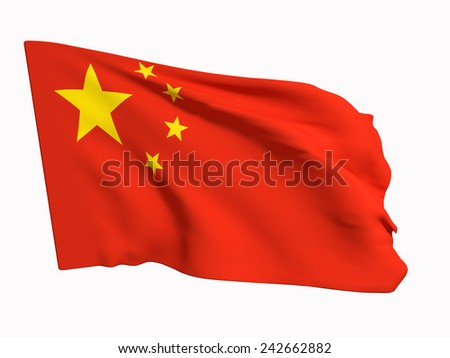 3d rendering of a China flag on a white background - stock photo