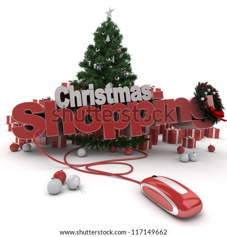 3D rendering of a Christmas decor, and the words Christmas shopping connected to a computer mouse - stock photo