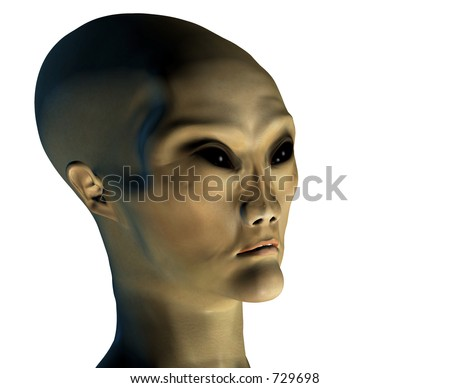 3d rendering of a classical alien (series w/ clipping mask) - stock photo