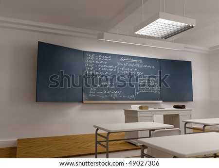 3D rendering of a classical school classroom with mathematics formula in the blackboard