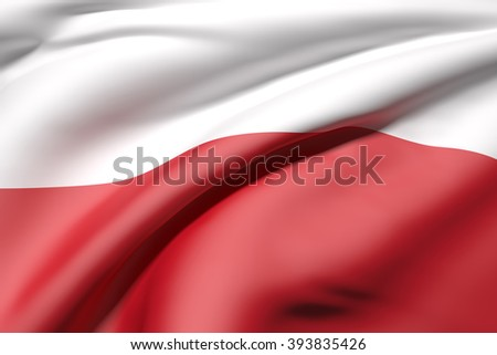 3d rendering of a close-up of volume red and white Polish flag waving in light - stock photo