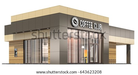 3 d rendering coffee shop on white ilustracin de stock643623208 3d rendering of a coffee shop on white background malvernweather Image collections