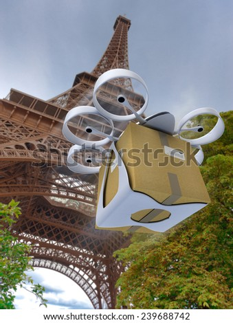 3D rendering of a commercial drone carrying a box by the Eiffel Tower - stock photo