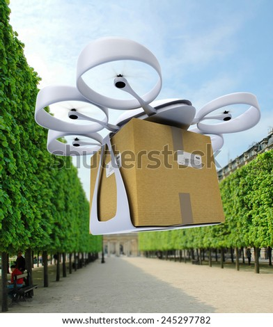 3D rendering of a commercial drone landing in an urban park - stock photo