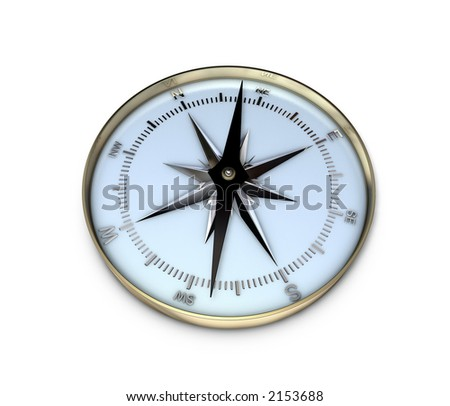 3d rendering of a compass