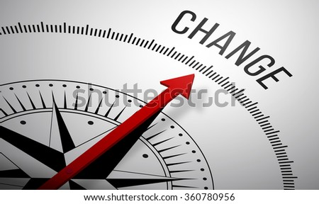 3D rendering of a compass with a Change icon. - stock photo