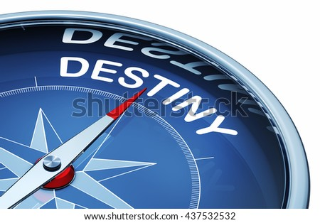 3D rendering of a compass with a destiny icon - stock photo