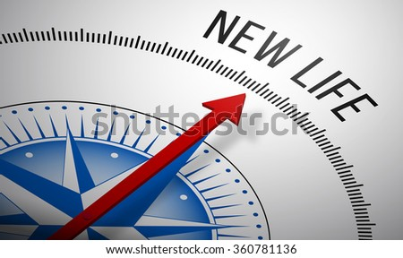 3D rendering of a compass with a New Life icon. - stock photo