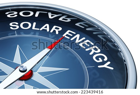 3D rendering of a compass with a solar energy icon - stock photo