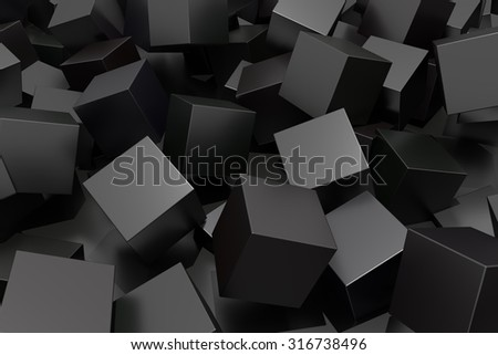 3d rendering of a composition with a lot of black cubes - stock photo