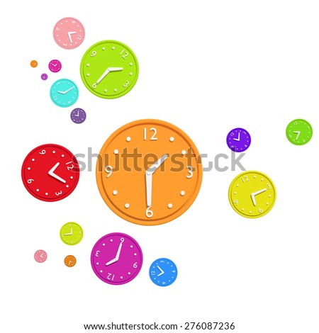 3d rendering of a composition with a lot of colored clocks - stock photo