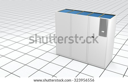 3D rendering of a Computer Room Air Conditioner (CRAC)  on a data center floor.