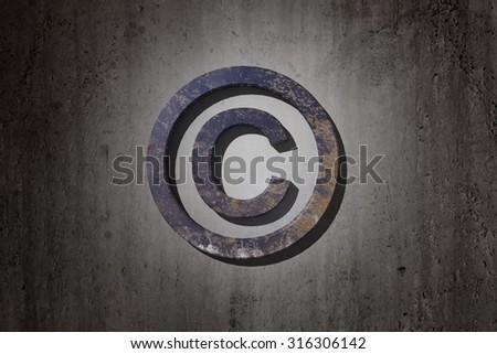 3d rendering of a copyright symbol on a dirty background - stock photo