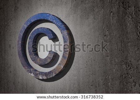 3d rendering of a copyright symbol on a dirty background