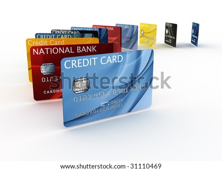 3d rendering of a credit cards - stock photo