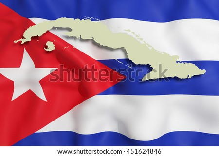 3d rendering of a Cuba map and flag