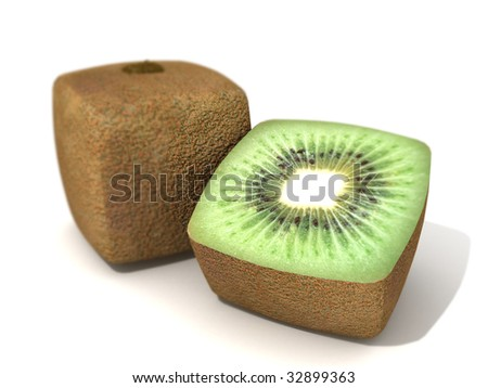 3D rendering of a cubic kiwi and a half - stock photo