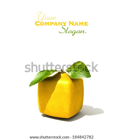 3D rendering of a cubic lemon on a white background - stock photo