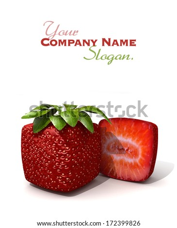 3D rendering of a cubic strawberry and a half against a white background - stock photo