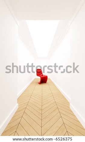 3D rendering of a designer red plastic chair in a corridor with a dead end - stock photo