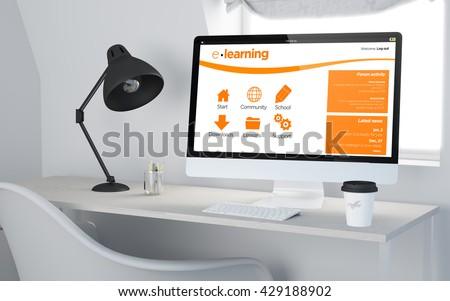 3d rendering of a desktop workplace with computer elearning online website. All screen graphics are made up. - stock photo
